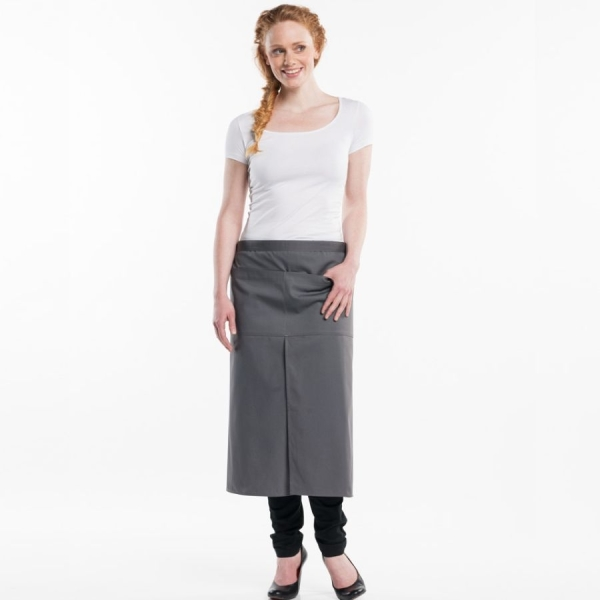 432 Chaud Devant® Bistroschürze Grey 4-Pockets