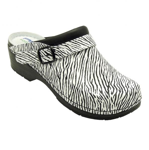 12111 AWC Clog mit Absatz schwarz/weiß Zebra