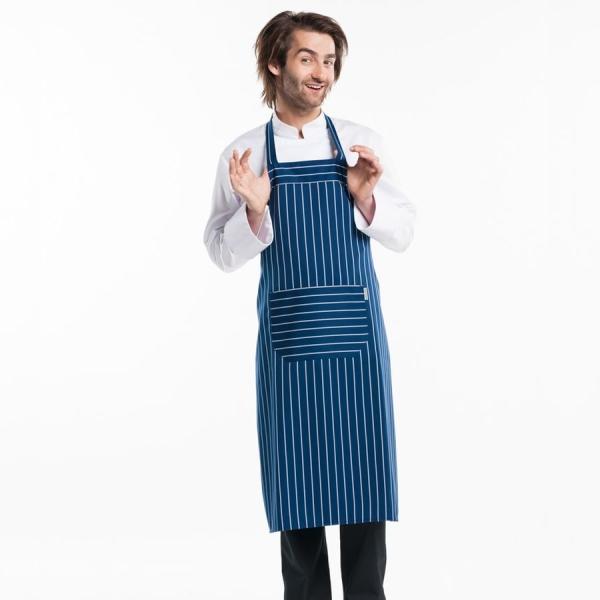 539 Chaud Devant® Latzschürze Blue Stripe